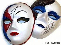 Maska na obličej k domalování, dámská, kombinace saténu a papíru