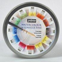 Akvarelové barvy 12 barevných kostiček v kovové krabičce