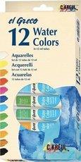 Akvarelové barvy KREUL  EL GRECO, 12 barev v tubách po 12ml