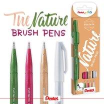 Popisovače štětečkové Pentel touch SES15N-4 Natural sada Brush Sign Pen