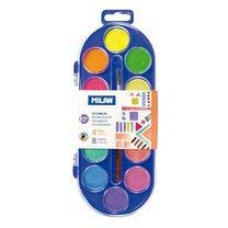 Vodové barvy MILAN prům. 30mm 12 barev fluo odstínů