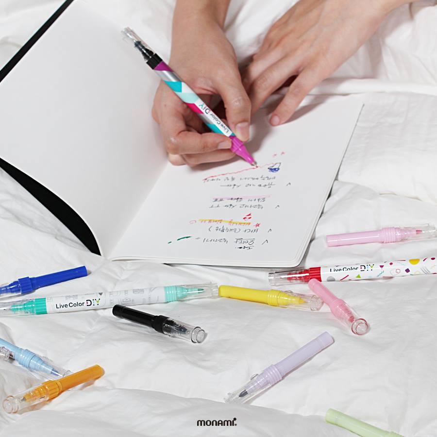 Monami, DIY, psaní, kreativita, Monami DIY, kuličkové pero, liner, zvýrazňovač, fix, fixy